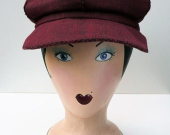 1970s Retro Hat // Vintage Style Wool Beret // Red and Black Woven Cap // Women's Newsboy Cap