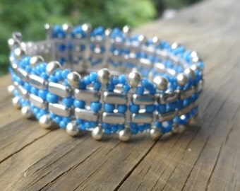 Corn Blue and Silver Seed Bead Bracelet with Mag Loc clasp