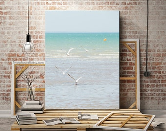 Nautical decor beach photography Minimalist seagull large canvas art/large wall art/sea and waves fine art photography personalized