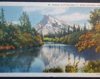 Mt. Rundle, Banff, Vintage Postcard, Canadian Pacific Railway, Mountain, Forest