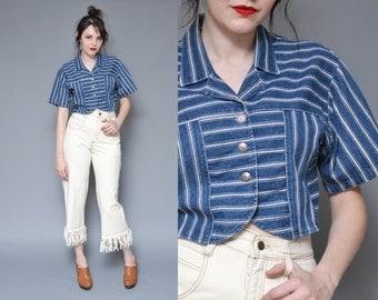 Denim Crop Top 80s 90s Striped Button Up Shirt M L WESTERN Southwest Blue White Patchwork Oversized Boxy Hippie Boho Short Sleeve Top