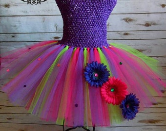Bright Flower tutu dress | Flower girl tutu | tutu dress | Newborn-10/12 listing
