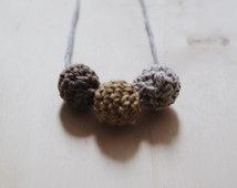 Brown Ombre Crochet Necklace, Eco-friendly Jewellery, Crochet Beads Necklace, Cotton Anniversary Gift