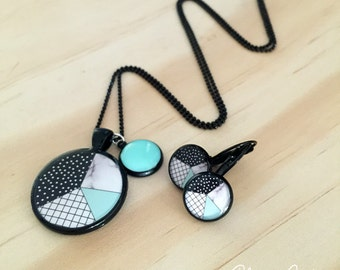 Geometric Mint Black Necklace and or Earrings
