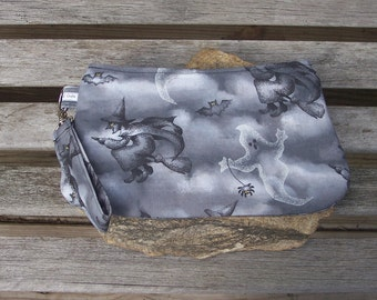 Witch and Ghost Wristlet - Clutch Handbag Purse - Halloween Witch Spooky Wicca Pagan Bats Ghosts - Swoon Coraline