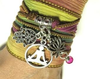 Meditation Lotus Yoga Jewelry Hamsa Silk Wrap Bracelet Buddhist Pink Arm Band Yoga Bracelet Silk Ribbon Wrap Spiritual Zen Birthday Gift