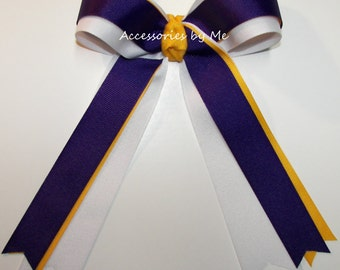 20 Cheer Bows, Bow Bundle Lot, Purple Gold White Ribbons, Ponytail Holders, Custom Team Colors, Cheerleader, Soccer Volleyball Softball Bows