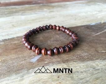 Brown Wood Beaded Man Bracelet 6mm Beads
