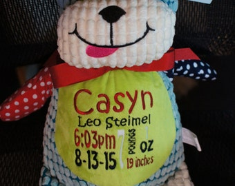 Personalized baby gifts baby cubbies loverbee personalized baby gift baby cubbies harlequin puppy birth announcement stuffed animal negle Images