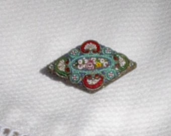 Antique Mirco Mosaic Brooch, Murano Glass, Made in Italy