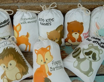 "Woodland animals Favor Bags for Birthday/Baby Shower for Treats and gifts can be Personalized 5"" X 7"" or 6"" X 8"" Qty 8"