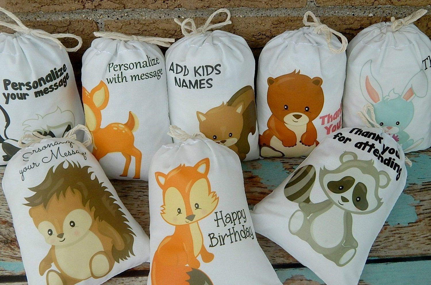 woodland animals favor bags for birthday baby shower for