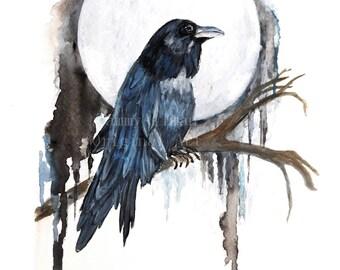 "Raven Watercolor, ""Blue Moon Raven"", Crow Watercolor, Print of Original Watercolor"