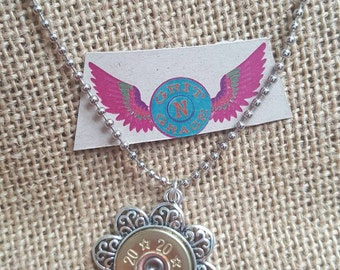 Flower Bullet Necklace gift cowgirl 2nd amendment jewelry brass bullet jewelry country girl
