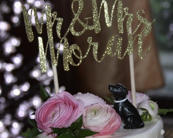 Gold Glitter Mr. & Mrs. Cake Topper // Wedding // Birthday // Bridal Shower // Etc.
