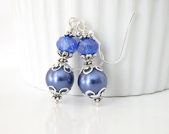 Periwinkle Wedding Earrings, Blue Violet Wedding Pearl Drop Earrings, Cornflower Jewellery, Bridesmaid Gift Ideas, Blue Pearl Dangles