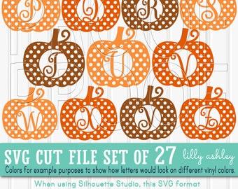 Pumpkin SVG Letter File Set of 27 polkadot pumpkin letter cut files cuttable Letters A-Z & solid pumpkin for layering! pumpkin monogram svg