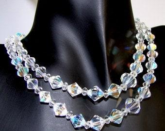 Vintage Aurora Borealis Bicone Crystal Necklace, Double Strand, 16 1/2 Inch Length