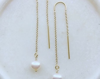 fresh water pearls thread earrings gold filled