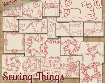 Redwork Sewing Things Machine Embroidery Patterns / 20 Designs 4x4 and 5x7 Hoop INSTANT DOWNLOAD - Many formats!