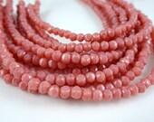 Czech Beads, 3mm English Cut, Czech Glass Beads - Coral Pink (EC3/SM-74020) - Qty. 50