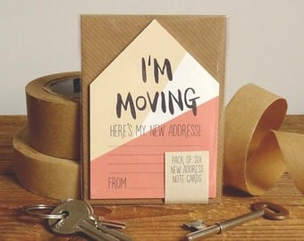 New Address Cards Pack Of 6 Miniature Houses 'I'm Moving' // New Address Note Cards // Moving Cards // Change Of Address