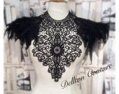 Halloween Black Lace And Feather Black Collar Necklace Neckpiece Victorian Steampunk tattoo
