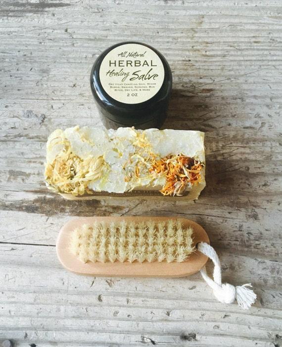 GARDENER'S HAND KIT {Tucked in a burlap bag, natural scrubbing anti-microbial hand soap, healing herbal salve & wooden nail brush}
