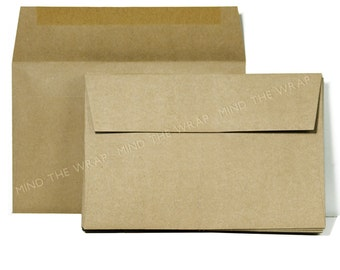25 - A9 size Kraft Envelopes 8.75 x 5.75 inches - Brown Bag Paper Grocery Bag style - Recycled - made in the USA