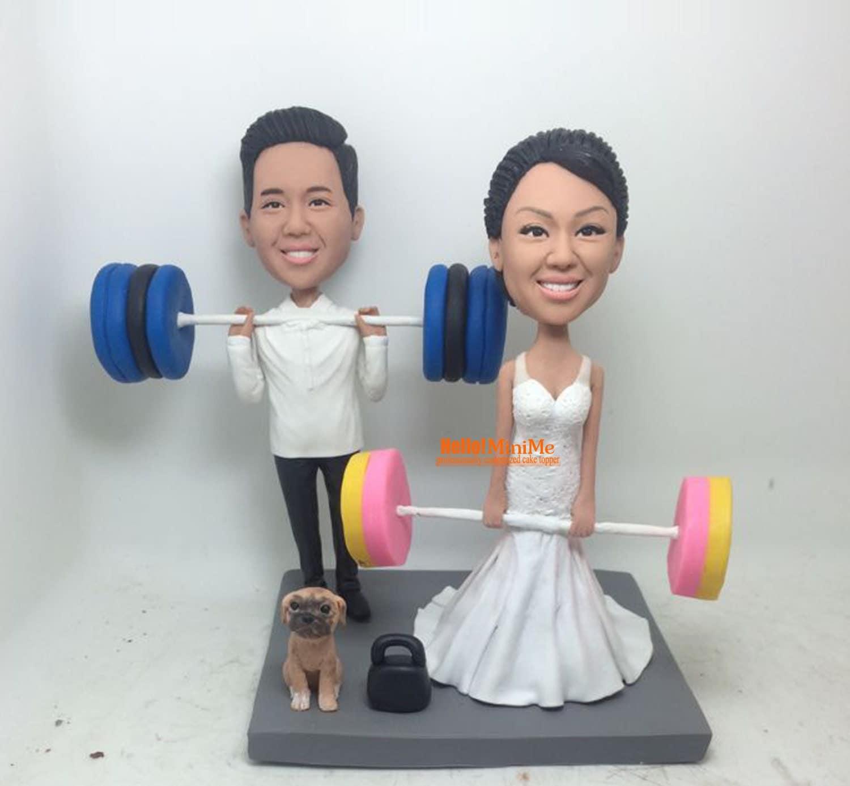 weight lifting bobblehead wedding cake topper bobble head. Black Bedroom Furniture Sets. Home Design Ideas