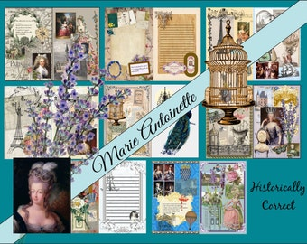 Digital Album Marie Antoinette, Printable, Vintage, Journal Kit, 8.5 x 11, French Journal, Digital Journal Kit, Instant download