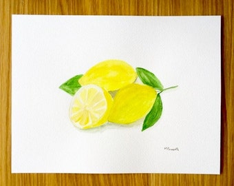 Lemons watercolor, original watercolor painting, lemon art, citrus painting 12 x 9 inch