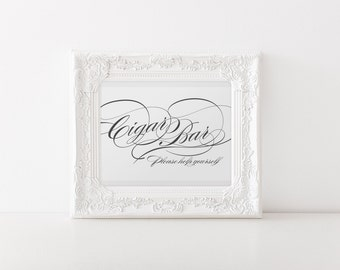 "INSTANT DOWNLOAD - Cigar Bar Printable Sign 5x7"" DIY Wedding Classic style... Black"