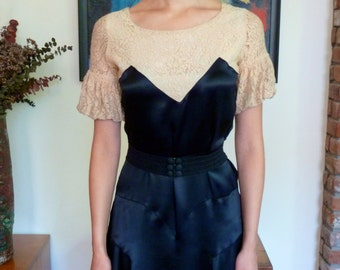 1930s Evening Dress Black Satin and Lace AS IS Bias Cut Gathered Sleeves French Frock Gown Thirties
