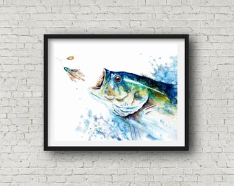 Large mouth Bass- fish print-Sport fish print