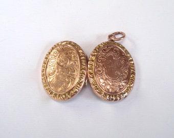 Antique Rose Gold Locket - Victorian Hand Engraved 9K Gold Locket
