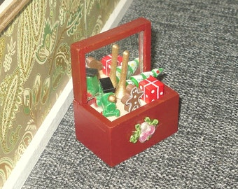 Miniature dollhouse vintage Christmas themed wooden toy box