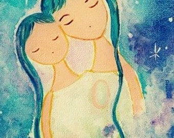 Gift for expecting mom Gift for mom Mothers day gift for her Hermana Gifts Heart Sisters Guardian angel print Angel painting Wall art