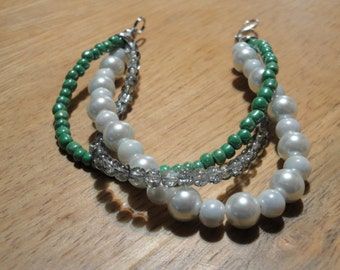 Green, White and Clear Sparkle Bracelet