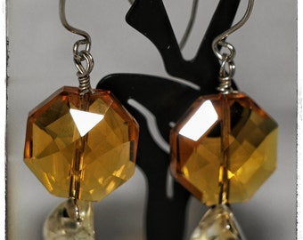 SALE.....Amber Faceted Glass and Citrine Nuggats on Sterling Silver Earrings