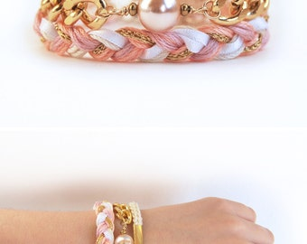 Pink bracelet stack with chunky chain, romantic braided bracelet set, three piece set of bracelets for stacking