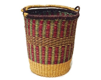 Vintage Tribal Woven Basket Kenya African Straw Dyed Basket Pail with handle Bohemian Home meets Rustic Cottage Kenyan Dyed Basket Tall