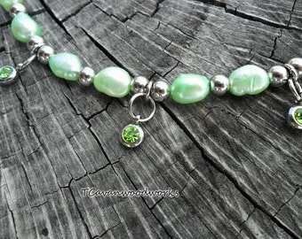 peridot charm bracelet,  mint green freshwater pearls, peridot crystals drop charms, all stainless steel non tarnish findings