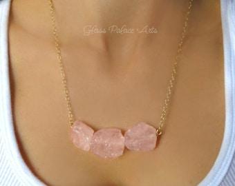 Rose Quartz Necklace - Raw Gemstone Necklace - Pink Quartz Necklace - Natural Stone Necklace - Chunky Jewelry - Pink Statement Necklace Gift