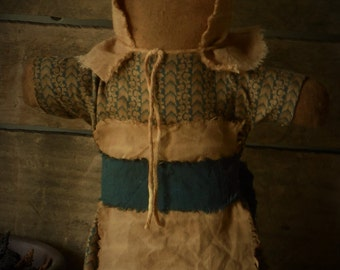 Primitive Prairie Stump Sitter Doll in Blue