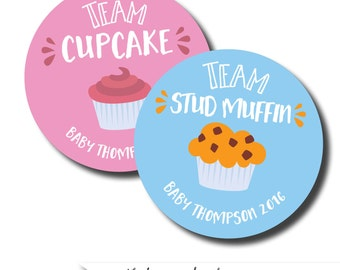 Team cupcake stickers, cupcake and studmuffin stickers. gender reveal shower ideas, baby shower games baby shower favors baby shower sticker