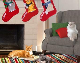 cat christmas stockings xmas stockings red felt stockings christmas stocking custom - Custom Christmas Stockings