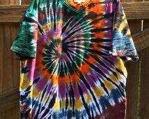 Upcycled Men's Tie-Dyed V-Neck T-Shirt (XXL)