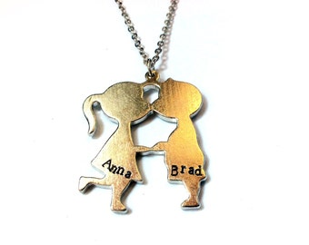 kissing kids / couple necklace with customized hand stamped initial, name or any text