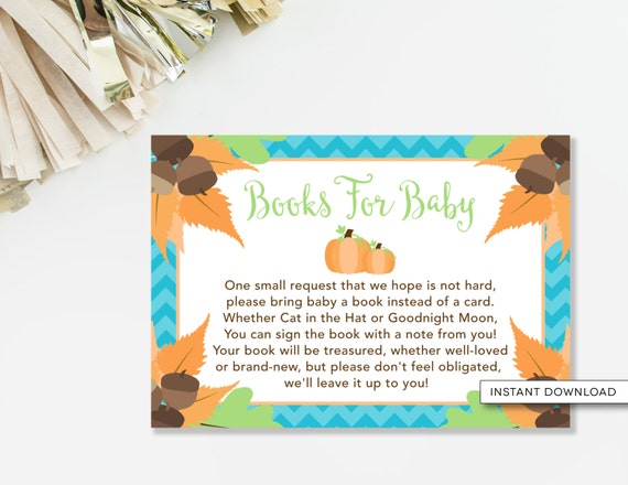 baby shower book poem insert card